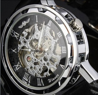 Wholesale Skeleton Manual Watch Men - Wholesale-Man's Winner Black Leather strap Stainless Steel Skeleton Mechanical Watch For Man Manual Mechanical Wrist Watch Free Shipping