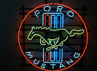 Wholesale NEW FORD MUSTANG LOGO REAL GLASS NEON BEER BAR PUB GAMEROOM LIGHT SIGN