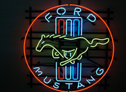 NEW FORD MUSTANG LOGO REAL GLASS NEON BEER BAR PUB GAMEROOM LIGHT SIGN