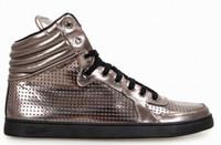 Cheap Men metal Leather High Top Sneaker Fashion design shoes
