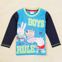 Wholesale boys clothes peppa pig clothing kids cartoon t shirt knitted cotton fabric baby long sleeve tops for autumn winter A5213