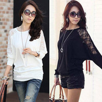 Wholesale 2014 New Fashion Ladies Loose Batwing Dolman Lace Blouse Sexy Long Sleeve Blouse Casual Blouse for Women Tops T shirt Shirts crochet top