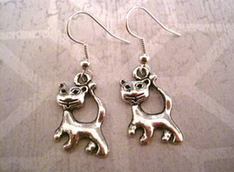 Wholesale Earring Antique silver Cheeky Cats Earrings NEW pair ab17
