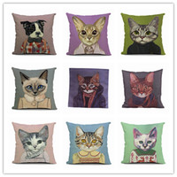 Wholesale Stylish Cute Cat Dog Pattern Boster Case Linen Cotton Cushion Covers Washable And detachable inch Square Pillow Case EHE50