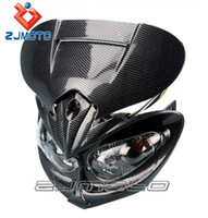 Wholesale Headlight Angry Face Light Frame Motorcycle Acerbis Black Shell Universal Dirt Bike Vision Driving Headlight Motorbike Driving Headlight