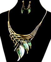 Wholesale Paint Leaf Jewelry Sets Cheap Price Costum Jewelry Fine Quality Earrings and Necklace Wedding Jewelry Sets Party Gifts