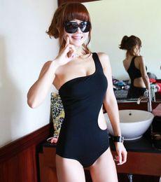 MONDE Korea Fashion Women's One Shoulder Swimsuit Sexy Black One Piece Bikinis Monokini Hollow Out Swimsuit Women Swimwear Girl Bathing suit