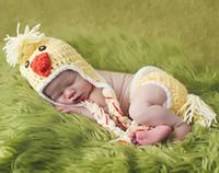 Wholesale Handmade Crochet Baby Girl yellow Pink Blue Bird Chick Diaper Cover Hat Set Newborn Photography Prop