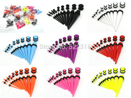 Wholesale Cheap Ear Stretching - Wholesale-OP-buy 3 get 4th free ear taper and plug stretching kits body piercing jewelry cheap price wholesale ear gauges set mix lots