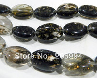 "Cheap free shipping new arrive 13x18MM OVAL Black Tourmaline Gem loose Bead 15"" 2pc lot fashion jewelry"