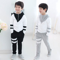 Wholesale Autumn clothing new style kids outfits handsome boys casual sets long sleeve color matching zipper hoodie pants children suit SM405