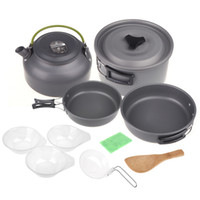 cookware - 2014 Aluminum Oxide Outdoor Camping Pot Set Hiking Cookout Picnic Cookware Teapot Coffee Kettle Set All in One for People H10658