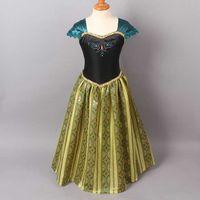 2014 Frozen Elsa Anna costume princess dress sequined cartoo...