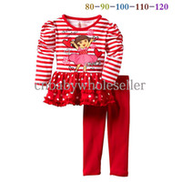 clothes for kids - Hot Sale Girl Clothing Sets Cartoon Colorful Kids Top Red Trousers For Children Clothes CS40813