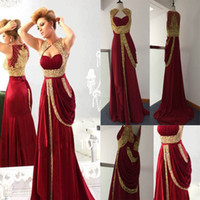 Reference Images Sweetheart Chiffon 2014 Sexy Sweetheart Chiffon burgundy Prom Dresses Runway Gold Embroidery Crystals Arabic Evening Dresses