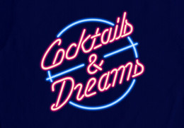 New Cocktails and Dreams Light Neon Glass Light Bar Pub Signs