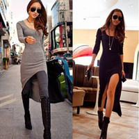 sexy club wear - 2014 Summer Autumn New Women Sexy Slim Split Irregular Club wear Asymmetric Hem Long Sleeve Bandage Bodycon Maxi Dress Party Casual Dresses