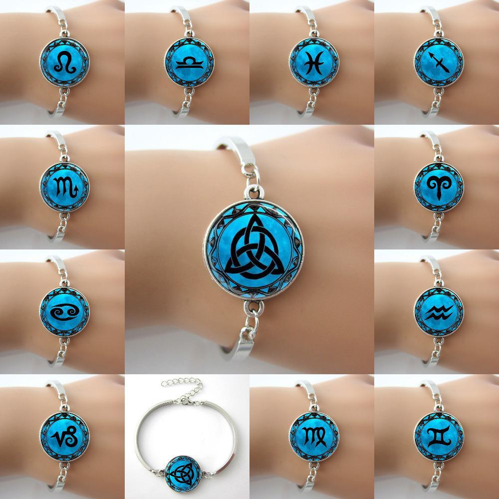 Zodiac Symbol Picture Blue Moon alloy charm Bangle Astrology Horoscope ...