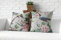 Wholesale customization Decorative Pillow Covers Flowers And Birds Vintage Cushion Cover Cute Beautiful Home Pillow Case
