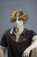 Wholesale New fashion short curly blonde men s wig