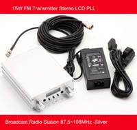 fm radio broadcast transmitter - 15W FM Transmitter Stereo LCD PLL Broadcast Radio Station MHz Silver