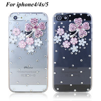 Wholesale Recommended explosion models Clover Crystal Rhinestone phone case iphone4 s apple s protective sleeve
