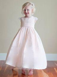 Wholesale Sweet Loli Ruffles Pink Princess Flower Girl Dresses Crew Neck Sleeveless Ankle Length Organza Girl Formal Dresses