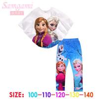 Frozen Elsa Anna Summer Girls Cotton Batwing- sleeved Blouse ...
