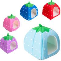 Wholesale Yurt Style Folding Pet Kennel Pretty Strawberry Dog Nest Snug Pet House Cat Bed