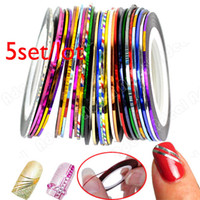 Wholesale 5set Fashion Mixed Colors Rolls Striping Tape Line Nail Art Decoration Sticker