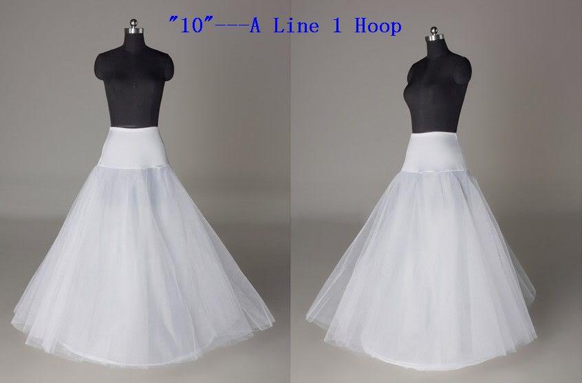 High Quality White 1 Layer One Hoop Wedding Dress Petticoat A Line Bridal Underskirt Slip