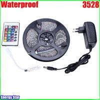 Wholesale 5m V warm white SMD LED Strip Light Waterproof Leds keys Controller A Adapter