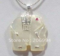 Cheap real jade jewelry Charming white jade elephant pendant necklace free shipping free chain 2pc lot
