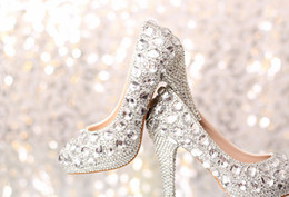 Wholesale wedding Shoes Crystal Shoes Women High Heels Rhinestone High Heel Shoes Platform Pumps Inches Wedding Party Prom Heels