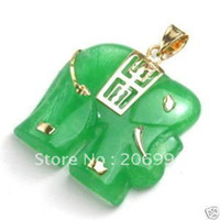 Cheap real jade jewelry Green jade elephant pendant necklace 2pc lot free shipping free chain