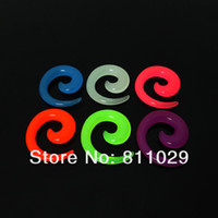 acrylic spiral gauges - OP Hot piercing body jewelry ear expander mixed gauges mixed colors glow in the dark spiral acrylic ear taper