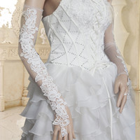 Wholesale 2014 In Stock White Long Bridal Gloves Above CM New Coming Popular Fingerless Lace Tulle Wedding Accessory Made In China ZX