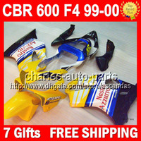 Cheap 7gifts For HONDA 46# Yellow CBR600F4 99 00 CBR600FS CBR 600F4 CBR600 F4 FS 72#83 CBR 600 F4 yellow blue blk 600F4 1999 2000 99-00 Fairing