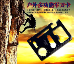 11 in 1 Stainless Multi Emergency Survival Pocket Card Camping Knife Tool with Leather Case Free Shipping