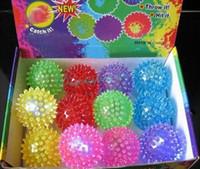 Wholesale OP Flashing Light Up Spikey High Bouncing Balls Novelty Sensory Translucent Ball Hot Drop Shipping