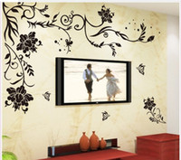 background black - Black Butterfly Flower Removable Vinyl Wall Sticker Decals Quote Living room bedroom background Home Decor