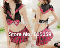 Wholesale Sex lingerie Hot Erotic School student costumes lingerie set sexy game DS clothing cloth with dress new ul168
