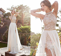 high low wedding dress - 2015 New romantic white prom dress high low lace special occasion dress high neck beaded chiffon A line wedding dresses