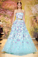 Cheap 2015 Zuhair Murad Colorful Flower Pageant Prom Dresses With Leaves Waist Runway Organza Ruffles Floor Length vestido de noiva Formal Dress