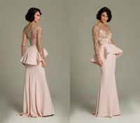 Cheap Promotion 2014 Long Chiffon Prom Dresses See Through Lace Long Sleeve Evening Gowns Peplum Floor Length Light Pink Formal Dress