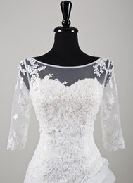 Wholesale Real Sample Fashion Sheer Bateau Neck Sleeves Lace Applique Tulle Bridal Accessories Wedding Jacket S200
