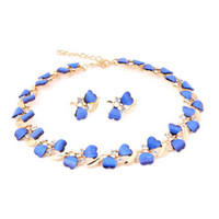 Cheap HOT SALE HIGH QUALITY New Arrival Resin Heart Elegant Women Party Necklace Earrings Set African Beads Costume Jewelry Sets