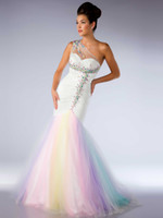 Wholesale Wonderful Beaded Sweetheart Mermaid One shoulder pageant dresses evening party gown prom dress