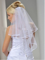 ivory wedding veils - hot new t white or Ivory Wedding Bridal veil elbow Length Satin Edge with comb