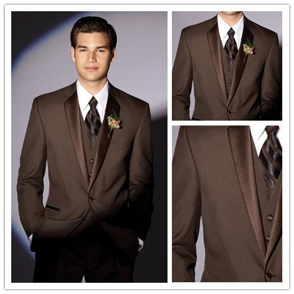 Custom Made Brown Groom Tuxedos Notch Collar Groomsmen Men Wedding SuitsJacket Pants Tie